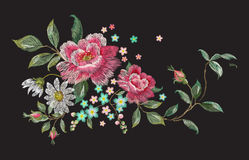 Embroidery fashion floral pattern with roses and chamomiles. Royalty Free Stock Photo