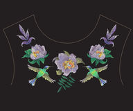 Embroidery fashion neckline pattern with exotic flowers and humm. Embroidery colorful fashion ethnic neck line pattern with exotic flowers and hummingbird royalty free illustration