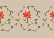 Embroidery floral border pattern. Embroidery ethnic floral border pattern. Embroidery trendy design element stock illustration