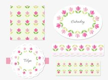Embroidery floral decorative elements set. Embroidery floral decorative elements set - ribbon, lace, doily, oval frame, seamless pattern stock illustration