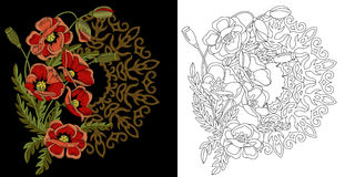 Free Embroidery Floral Design Stock Image - 90120791