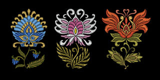 Embroidery floral ethnic design Royalty Free Stock Photos