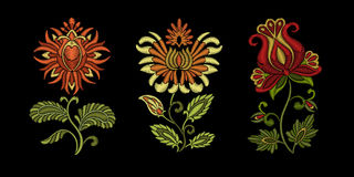 Embroidery floral ethnic design Royalty Free Stock Image