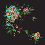 Embroidery floral mexican pattern with skull and roses. Embroidery floral pattern with skull and roses. Vector embroidered mexican patch with flowers for stock illustration