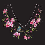 Embroidery floral neck line pattern with oriental cherry blossom Stock Photography