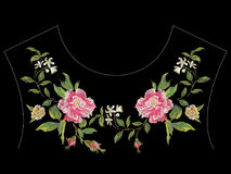 Embroidery floral neck line pattern with pink roses and apple bl. Ossom. Vector traditional embroidered design with flowers on black background for fashion stock illustration