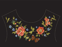 Embroidery floral neck line pattern with poppies and butterfly. Vector traditional embroidered design with flowers on black background for fashion clothing royalty free illustration