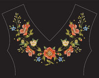 Embroidery floral neck line pattern with poppies. Vector embroidered traditional design with flowers for fashion stock illustration