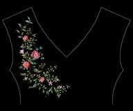 Embroidery floral neck line pattern with wild roses blossom. Vector traditional embroidered design with flowers on black background for fashion clothing vector illustration