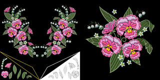 Embroidery floral neckline design Royalty Free Stock Image