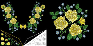 Embroidery floral neckline design Stock Photos