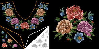 Embroidery floral neckline design Stock Image