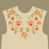 Embroidery floral neckline design. Embroidery ethnic neckline floral pattern. Embroidery trendy design Stock Image