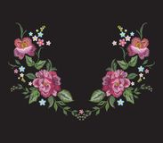 Embroidery floral neckline pattern with red roses. Royalty Free Stock Images
