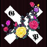 Embroidery floral patch with roses and gothic signs. Royalty Free Stock Image