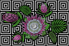 Embroidery floral patch tropical protea blossom. Pink flower exotic leaves fashion print textile decoration stitch. Stripe geometric vector illustration art Stock Image