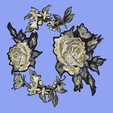 Embroidery floral patch with white roses. Royalty Free Stock Images