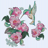 Embroidery floral patches with exotic flowers and hummingbird. Vector embroidered stickers for fashion design stock illustration