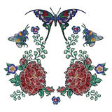 Embroidery floral patches with roses bee and butterflies. Vector embroidered flowers stickers for fashion design stock illustration