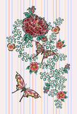 Embroidery floral patches with roses and exotic butterflies. Vector embroidered flowers stickers for fashion design royalty free illustration