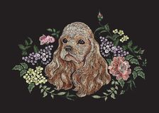 Embroidery floral pattern with dog, lilac and roses. Stock Photography