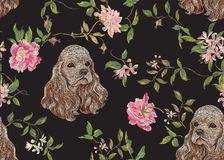 Embroidery floral pattern with dog and roses. Royalty Free Stock Images