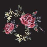 Embroidery floral pattern with red roses. Royalty Free Stock Images