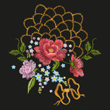 Embroidery floral pattern with roses, forget-me-not flowers. Royalty Free Stock Photos