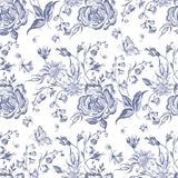 Embroidery floral seamless pattern with blue roses and chamomiles. royalty free illustration