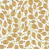 Embroidery floral seamless pattern on linen cloth texture stock photography