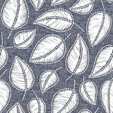 Embroidery floral seamless pattern on linen cloth texture for textile, home decor, fashion, fabric. stitches imitation.  stock illustration