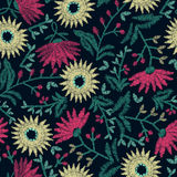 Embroidery floral seamless pattern on navy background Royalty Free Stock Photography