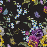 Embroidery floral seamless pattern with pansies and chamomiles. Embroidery floral seamless pattern with pansies, chamomiles and forget me not flowers. Vector royalty free illustration