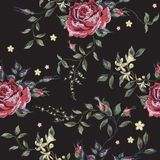 Embroidery floral seamless pattern with red roses. Royalty Free Stock Image