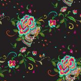 Embroidery floral seamless pattern with skull and roses. Vector embroidered mexican patch with flowers for wearing design stock illustration