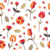 Embroidery floral seamless pattern with stylized flowers on white background. Beautiful print with folk motifs. Fashion design. Vector embroidered illustration royalty free illustration
