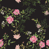 Embroidery floral seamless pattern with wild roses and lilac. Stock Photos