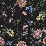 Embroidery Floral Seamless Pattern With Rose Branch, Violets. Royalty Free Stock Photos