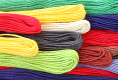 Embroidery floss. 100% cotton embroidery floss (skeins of colored thread Stock Photos