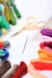 Embroidery floss and needle Royalty Free Stock Photography