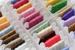 Embroidery floss sorting box. Close-up of embroidery floss sorting box Royalty Free Stock Photos