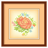 Embroidery, Flower Bouquet, Picture Frame, Mat Stock Photo