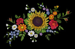 Embroidery flower bouquet sunflower dog rose briar daisy forget-me-not gerbera. Blooming field plant arrangement. Fashion patch stitch textile print on black Stock Photos