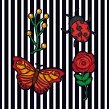 Embroidery flower butterfly bee and ladybug arrangement fashion print textile stripes background. Vector illustration stock illustration