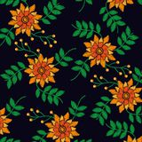Embroidery flowers berries leaves nature design fashion pattern. Vector illustration royalty free illustration