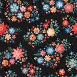 Embroidery flowers. Ditsy seamless pattern with bright embroidered bouquets on black background.  royalty free illustration