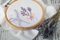 Embroidery Flowers. Sewing accessories. Canvas, hoop, thread mouline. Needlework. Hand embroidery. Embroidery Flowers. Sewing accessories. Canvas, hoop, thread Stock Photography