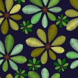 Embroidery foliage pattern with green leaves Stock Images