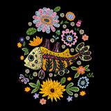 Embroidery folk pattern with fish and flowers. Vector embroidered floral design for fabric Royalty Free Stock Photo