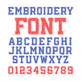 Embroidery font. Letters and numbers stock illustration